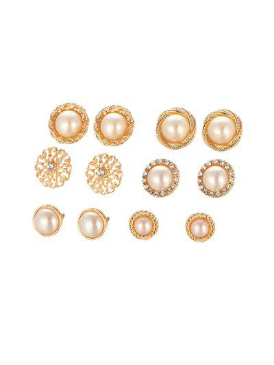 9cb3941ee 6Pairs Faux Pearl Round Stud Earrings Set - Gold ...