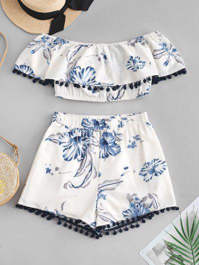 ZAFUL Flower Pom Pom Off Shoulder Shorts Set - White L