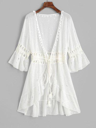66edda195e Flounce Crochet Panel Pom-pom Starry Cover-up - White - White ...