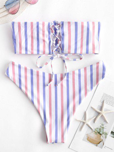 ZAFUL Colorful Striped Lace Up Bandeau Bikini Set, Multi-d