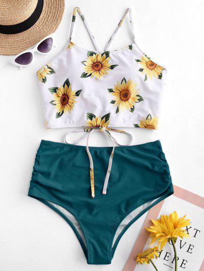 ZAFUL Crisscross Ruched Sunflower Tankini Set - Greenish Blue S