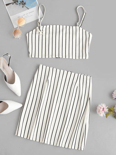 Striped Crop Top And Zip Front Skirt Set - White M