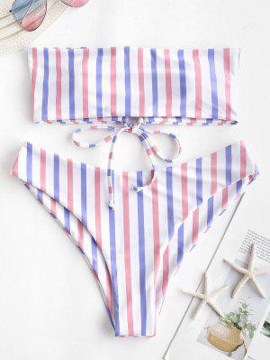 ZAFUL Colorful Striped Lace Up Bandeau Bikini Set - Multi-d S