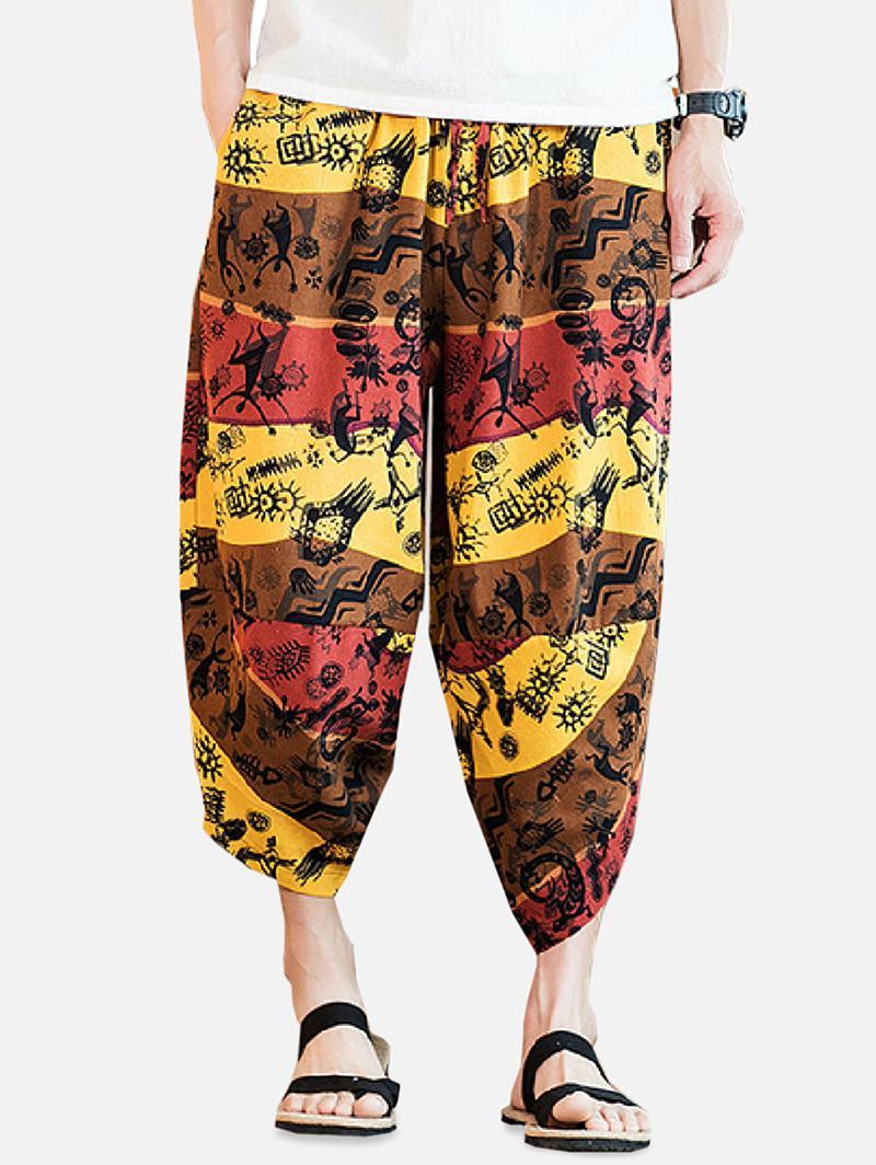 Blocco Di Colore Tribale Figura Grafica Stampa Harem Pants