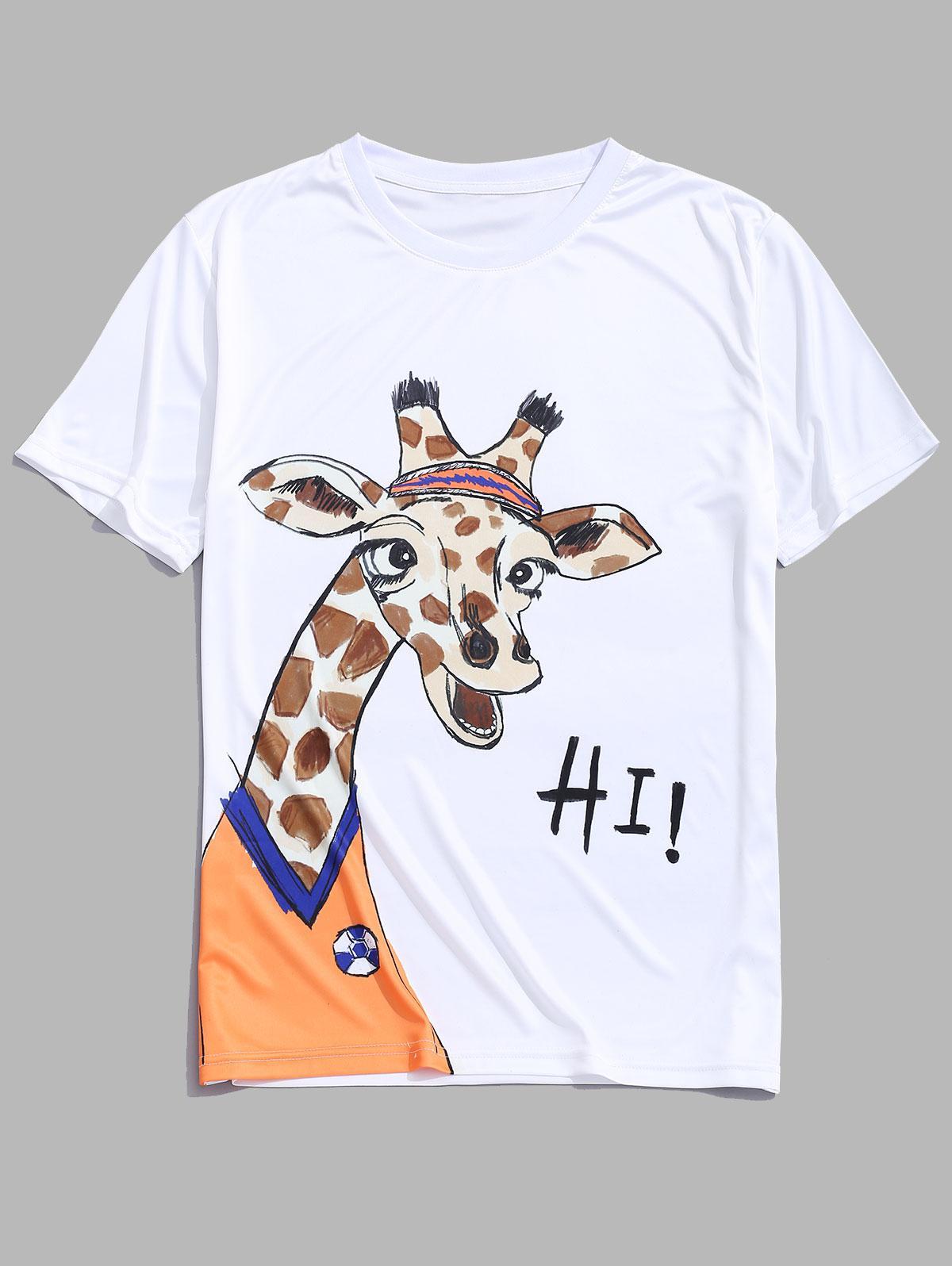 Cartoon Giraffe Player Print Graphic Short Sleeves T-shirt, White