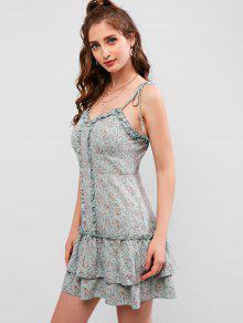 2435e2ef7759 ZAFUL Layer Flounce Tie Hombro Ditsy vestido con volantes floral