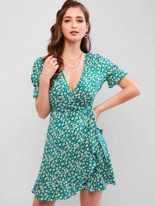 فستان بنمط لف - ضوء البحر الاخضر S