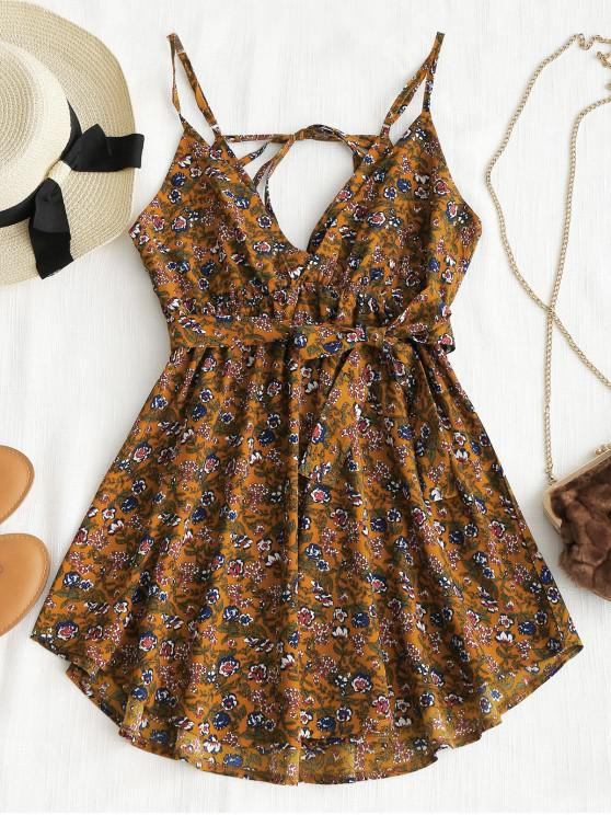 chic Belted Floral Drawstring Mini Dress - BROWN L