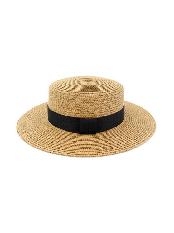 fashion Beach Round Straw Strap Decorated Sun Hat - KHAKI