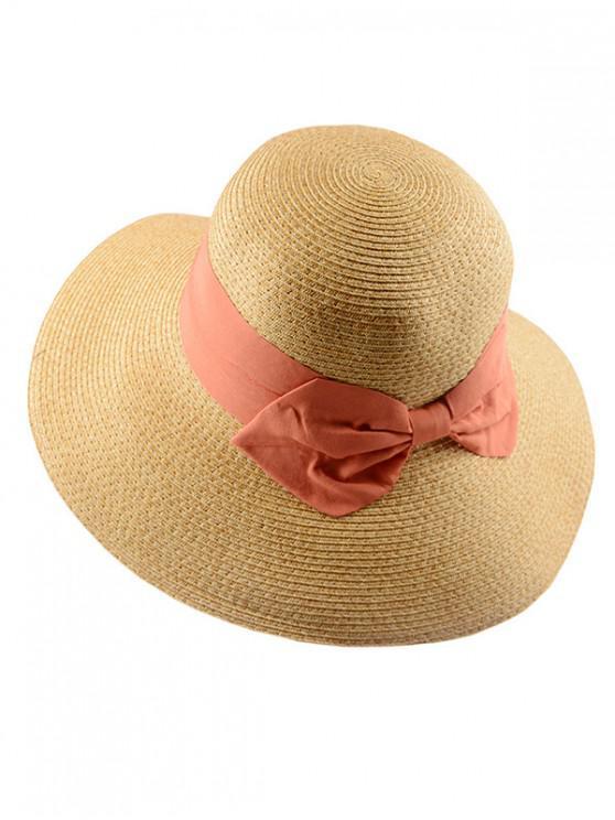 Sombrero de paja de fiesta de bowknot - Rojo Rosa Regular