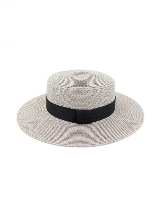 Chapeau de Soleil Rond Décoré de Sangle en Paille - Gris