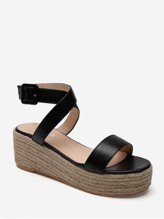 Cross Strap Flatform รองเท้าแตะ Espadrille - สีดำ EU 36