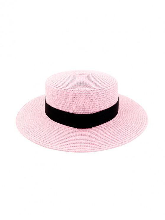 Chapeau de Soleil Rond Décoré de Sangle en Paille - Rose Vif