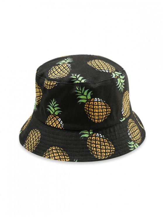 Sombrero de algodón con estampado de frutas - Negro