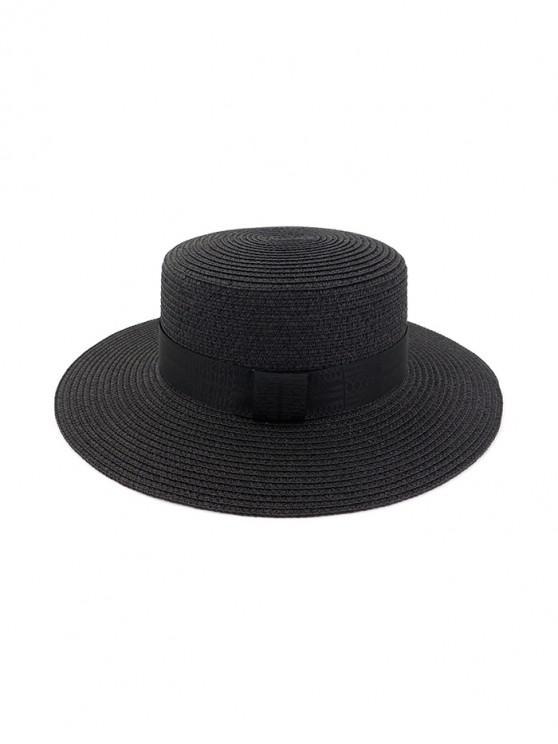 Chapeau de Soleil Rond Décoré de Sangle en Paille - Noir
