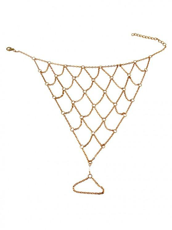 outfit Sexy Toe Ring Chain Net Anklet - GOLD