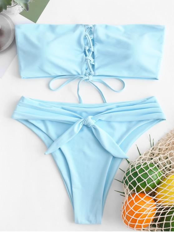 chic ZAFUL Lace-up Knot High Leg Bikini Set - DAY SKY BLUE M