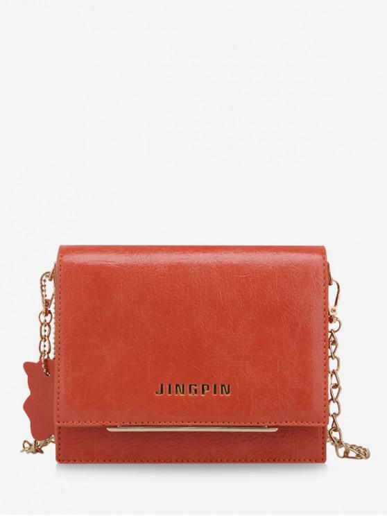 fancy Simple Solid Small Chain Shoulder Bag - ORANGE