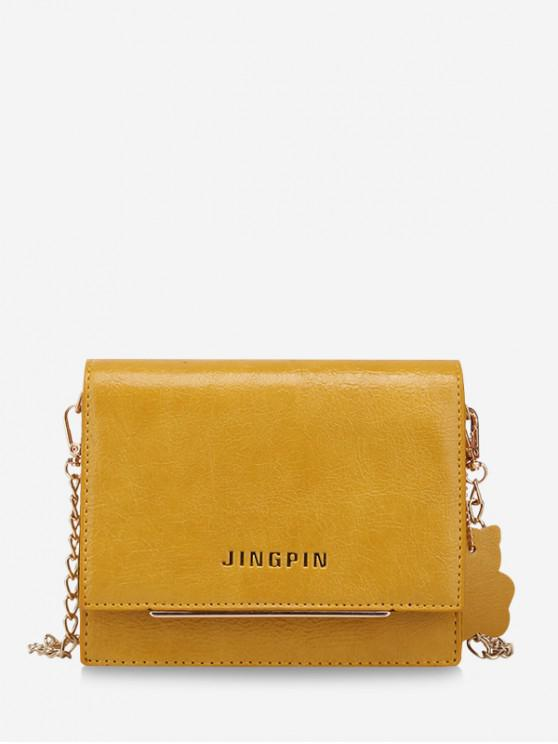 affordable Simple Solid Small Chain Shoulder Bag - YELLOW
