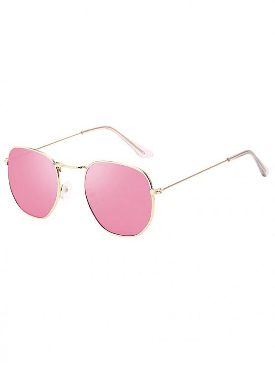 women Metal Retro Frame Sunglasses - PIG PINK