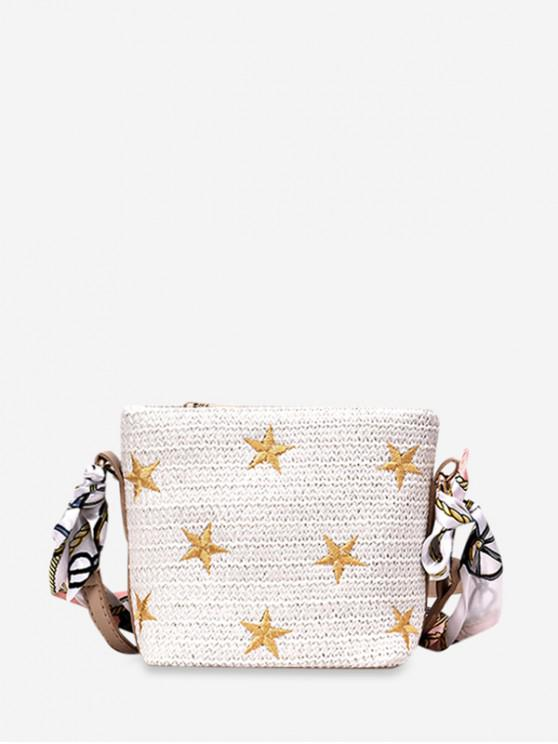 outfits Straw Small Ribbon Shoulder Bag - WHITE