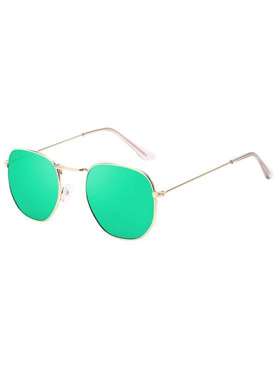 ladies Metal Retro Frame Sunglasses - JADE GREEN