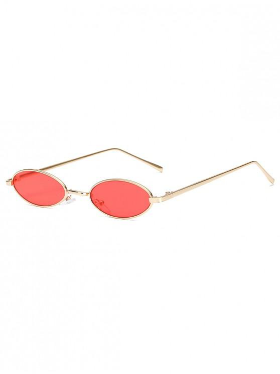 online Vintage Small Oval Metal Sunglasses - RED