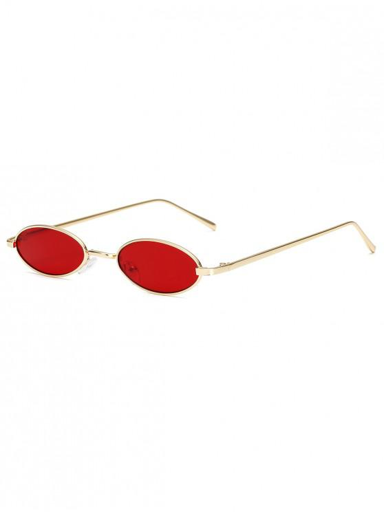 outfits Vintage Small Oval Metal Sunglasses - RED WINE