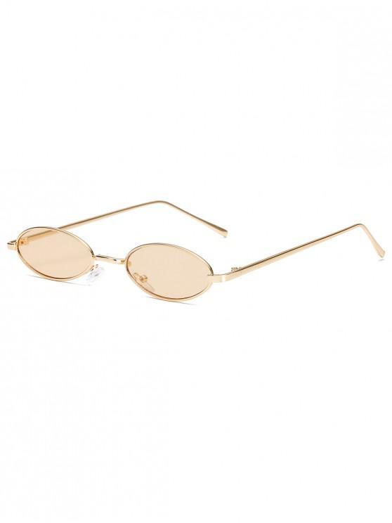 fashion Vintage Small Oval Metal Sunglasses - LIGHT BROWN