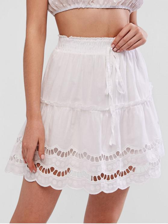 chic Hollow Out Scalloped Knotted Flare Skirt - WHITE S