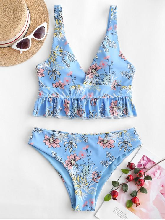 chic ZAFUL High Cut Ruffles Plant Floral Print Tankini Swimsuit - LIGHT SKY BLUE L