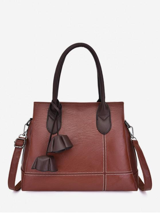 new Leather Pendant Classic Handbag - BROWN