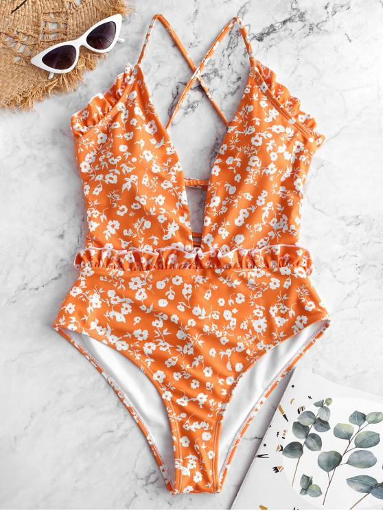 fancy ZAFUL Tiny Floral Criss Cross Ruffle Swimsuit - MULTI-A XL