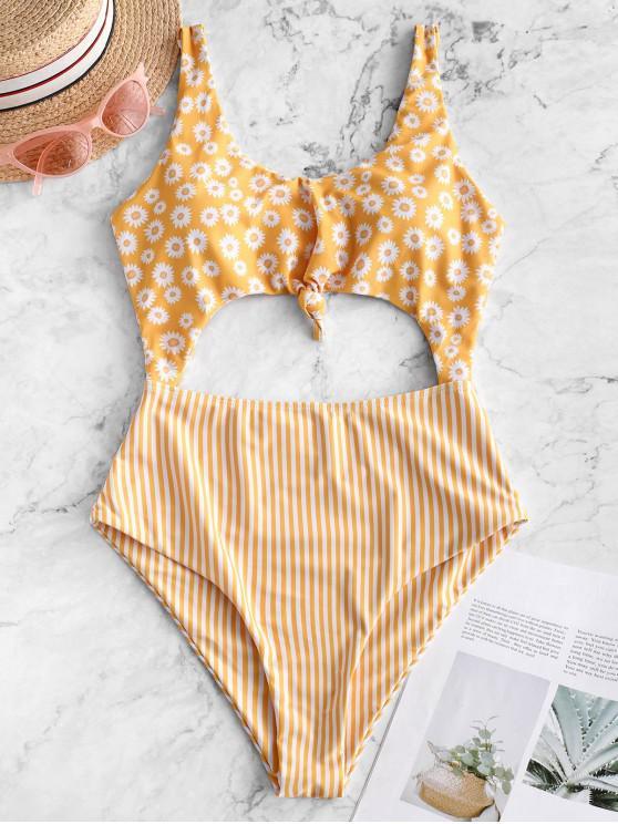 women's ZAFUL Daisy Striped Knotted Monokini Swimsuit - MULTI-A XL