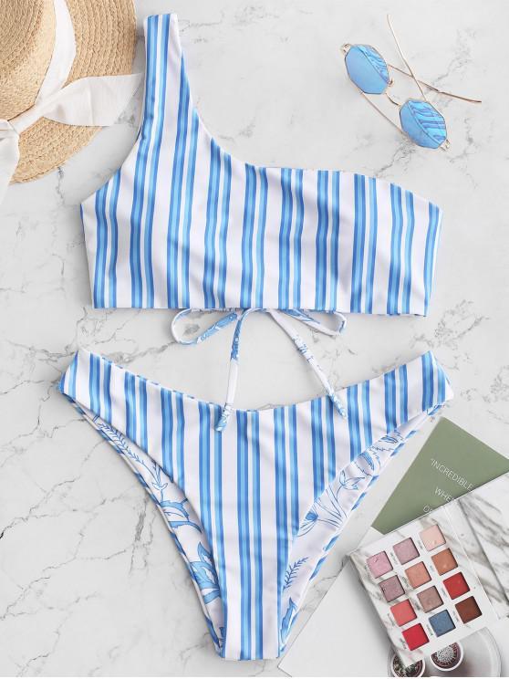 chic ZAFUL Reversible Flower Striped Lace Up One Shoulder Bikini Swimsuit - BLUE KOI S