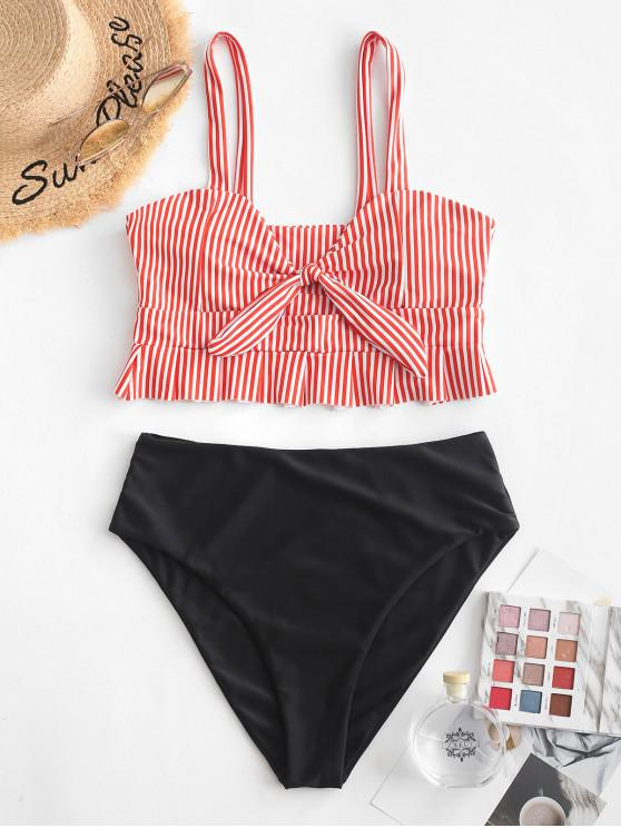 outfit ZAFUL Knot Ruffle Tankini Set - RUBY RED XL