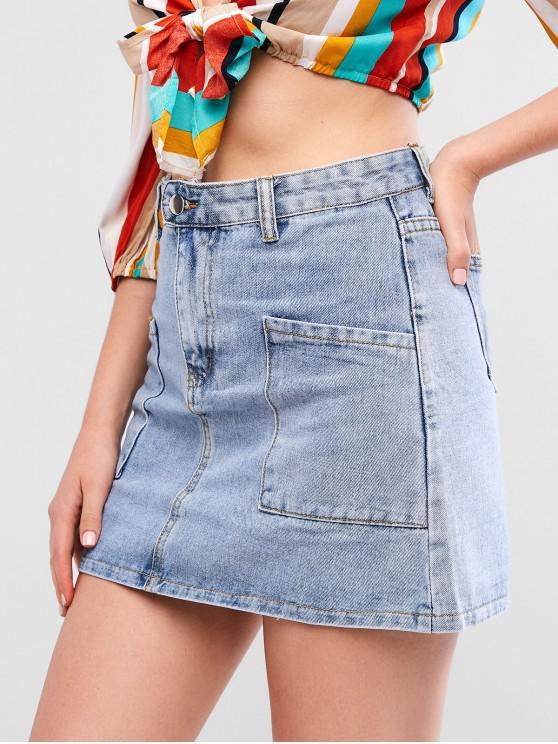 ladies A Line Pocket Mini Denim Skirt - JEANS BLUE M