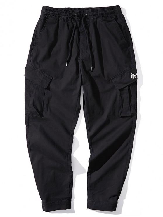 buy Solid Color Letter Print Casual Combat Pants - BLACK M