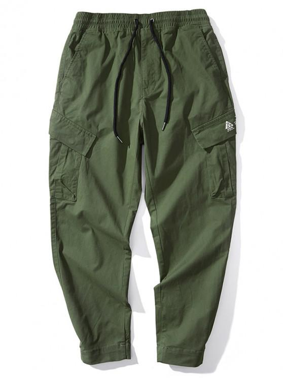 ladies Solid Color Letter Print Casual Combat Pants - DARK GREEN M