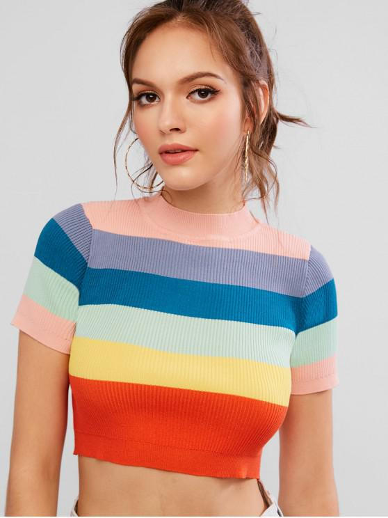 feb8671315 34% OFF] [POPULAR] 2019 Ribbed Contrast Striped Knit Tee In MULTI-A ...