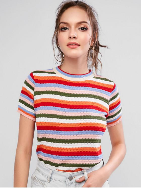 shop Ribbed Hem Contrast Striped Knitted Tee - MULTI-A ONE SIZE