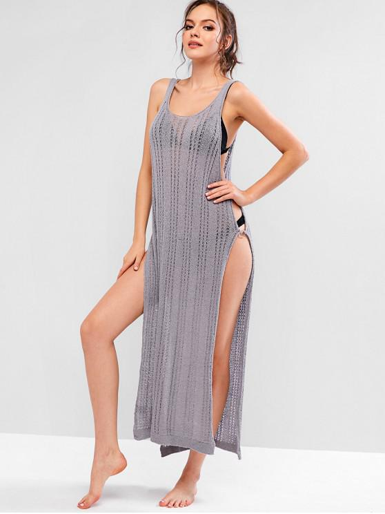 lady Ring Side Slit Crochet Dress - LIGHT SLATE GRAY S