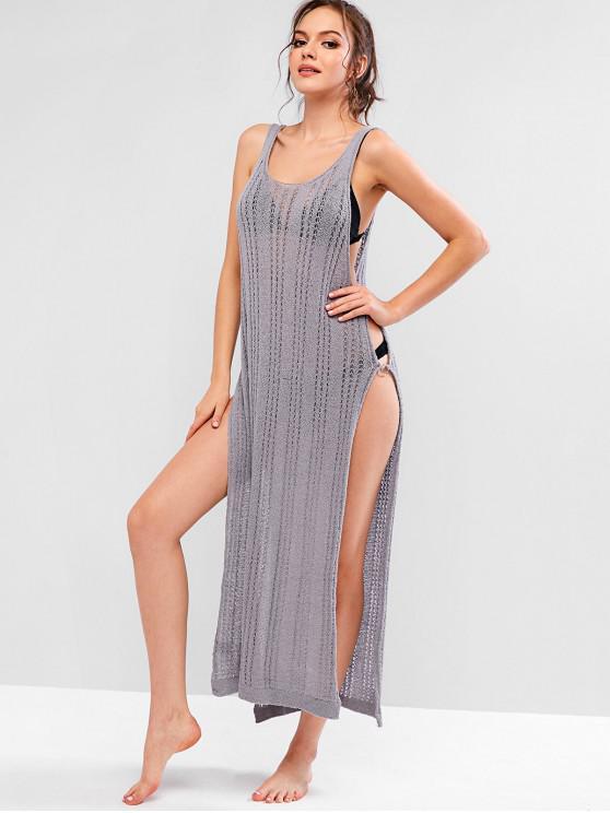 chic Ring Side Slit Crochet Dress - LIGHT SLATE GRAY XL