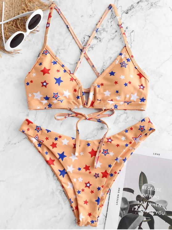 lady ZAFUL Star Print V-wired Crisscross Bralette Bikini Swimsuit - SAFFRON M