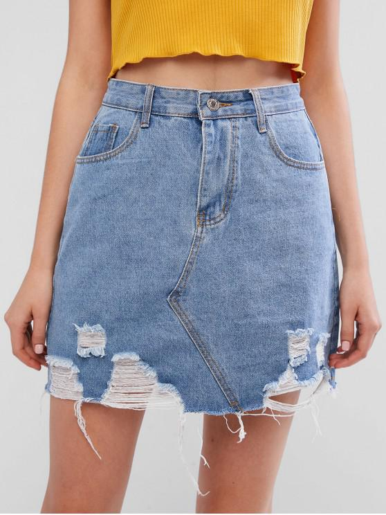 fashion High Waisted Ripped Pocket Denim Skirt - DENIM BLUE L