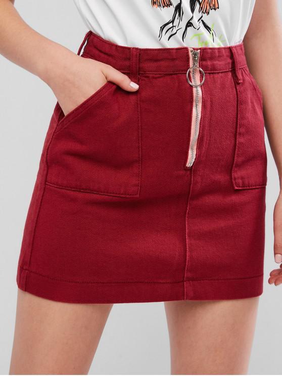 women Zip Pull Ring Pocket Mini Denim Skirt - FIREBRICK M