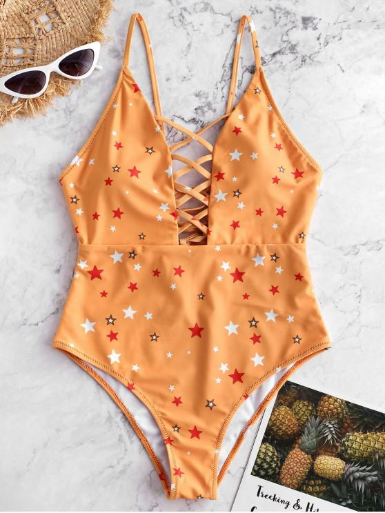 fashion ZAFUL Star Print Lace-up Lattice One-piece Swimsuit - BEE YELLOW M