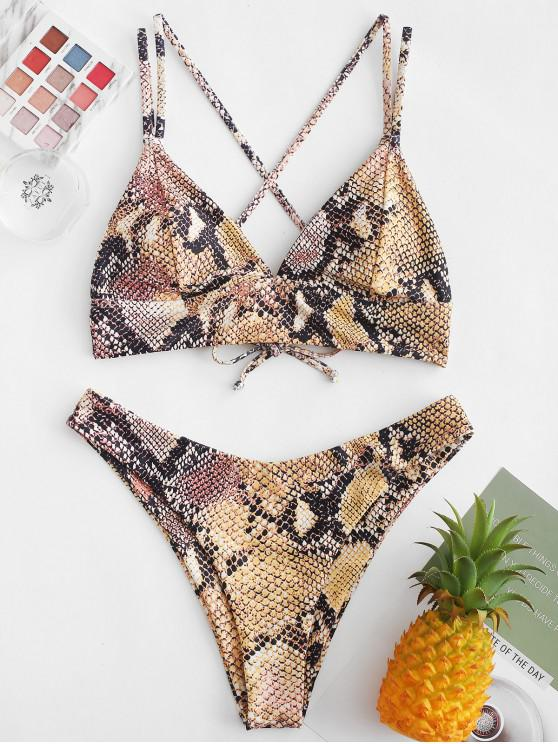 outfit ZAFUL Snakeskin Crisscross High Cut Bikini Swimsuit - MULTI-A M