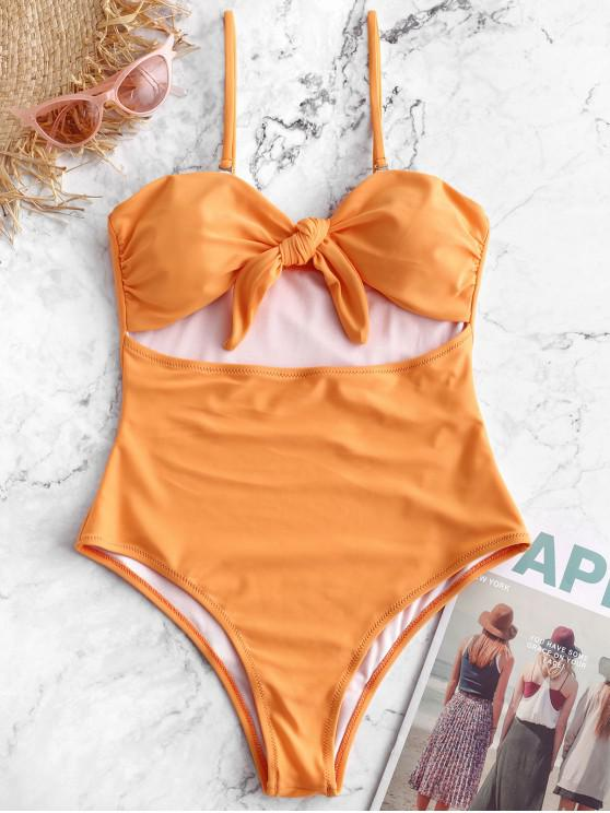 chic ZAFUL Tie Cutout Bandeau One-piece Swimsuit - SANDY BROWN L