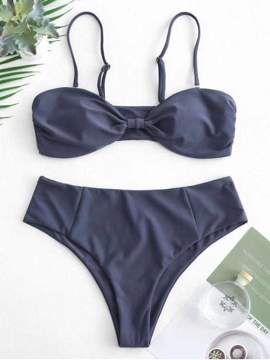 unique ZAFUL Knotted Cami Padded Bikini Swimwear - JET GRAY M